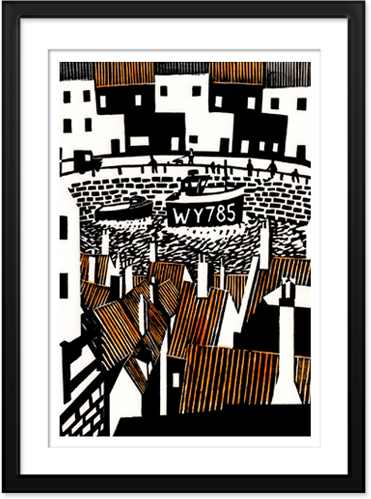 Whitby Rooftops - Original Lino Print By Philip Elliston
